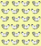 Seamless pattern with cocks on a yellow background. Roosters  are drawn by hand. Symbol of Chinese horoscope 2017, zodiac sign and folklore personage. Vector Royalty Free Stock Photo