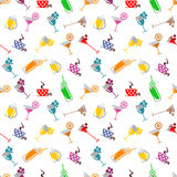 Seamless  pattern with cocktail, glass, wine glass, beer glass, fruits on the white background Stock Photos