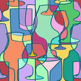 Seamless pattern of cocktail glasses Royalty Free Stock Photos