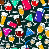 Seamless pattern with cocktail glasses Stock Image