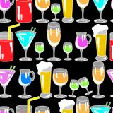 Seamless pattern with cocktail glasses Stock Photos