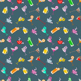 Seamless  pattern with cocktail with glasses with wine, beer, juice and fruits on the blue background Royalty Free Stock Photos