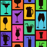 Seamless pattern of cocktails and drinks Stock Photos