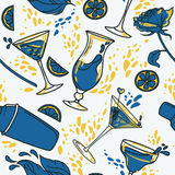 Seamless pattern with cocktails, flowers and splashes Royalty Free Stock Image