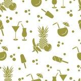 Cocktails, ice cream, pineapple, orange, banana. Seamless pattern with cocktails, ice cream, pineapple, orange, banana. Summer rest concept Royalty Free Stock Photos