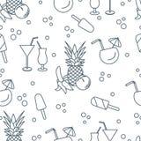 Cocktails, ice cream, pineapple, orange, banana. Seamless pattern with cocktails, ice cream, pineapple, orange, banana. Summer rest concept Stock Photo