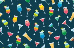 Seamless pattern with cocktails. Flat style. isolated on dark blue background Stock Photo