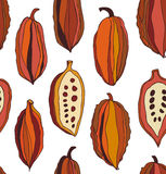 Seamless pattern with cocoa beans. Decorative vector colorful chocolate background. Royalty Free Stock Image