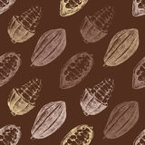 Seamless pattern with cocoa beans Royalty Free Stock Photos