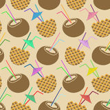 Seamless pattern of coconut and pineapple cocktail Royalty Free Stock Photos