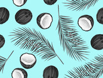 Seamless pattern with coconuts. Tropical abstract background in retro style. Easy to use for backdrop, textile, wrapping Stock Photography