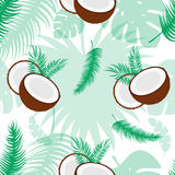 Seamless pattern with coconuts. Tropical abstract background in retro style. Easy to use for backdrop, textile, wrapping. Paper, wall posters Stock Photography