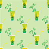 Seamless pattern with coctail mojito. Stock Photography