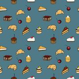 Seamless pattern - coffe, cakes and croissant. Seamless pattern - background for your design with coffee beans, croissants, sweet cakes Royalty Free Stock Images