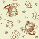 Seamless pattern with coffee Royalty Free Stock Images