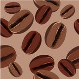 Seamless pattern with coffee beans Royalty Free Stock Photo