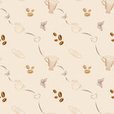 Seamless pattern with coffee beans and cups. Seamless hand drawn background with coffee beans and coffee mugs. Unique seamless pattern for cafes, websites Stock Images