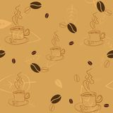 Seamless pattern with coffee beans, cups and leaves Stock Photos