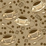 Seamless pattern with coffee beans and cups. Vector Stock Images