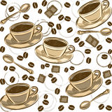Seamless pattern with coffee beans and cups. Vector Stock Photography