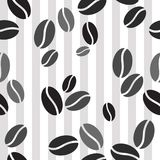 Seamless pattern with coffee beans on Striped  background. Repea Royalty Free Stock Image