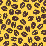 Seamless pattern with coffee beans. On yellow background Stock Photos