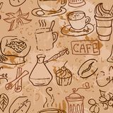 Seamless pattern with coffee cakes pies latte and Royalty Free Stock Images