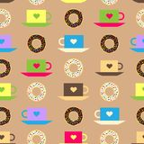 Seamless pattern with coffee and chocolate glazed donut background vector texture donut food illustration. Stock Photo