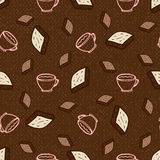 Seamless pattern with coffee and chocolate. Hand-drawn vector illustration, paper, textile, fabric, wrapper, wallpaper, vector Royalty Free Stock Photo