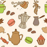 Seamless pattern with coffee Royalty Free Stock Image
