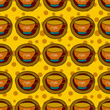 Seamless pattern with coffee cups Royalty Free Stock Photo