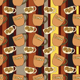 Seamless pattern with coffee cups Stock Photo