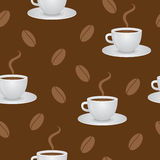 Seamless pattern with coffee cups and beans Royalty Free Stock Photo
