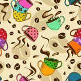 Seamless pattern of coffee cups Royalty Free Stock Photo