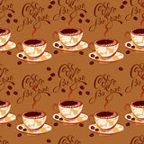 Seamless pattern with coffee cups, beans, calligraphic hand writ Royalty Free Stock Photography
