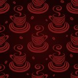 Seamless pattern coffee cups and beans dark. Royalty Free Stock Photo