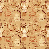 Seamless pattern with coffee cups, beans, grinder, coffee stain,. Calligraphic text COFFEE. Background design for cafe or restaurant menu Royalty Free Stock Photography