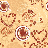 Seamless pattern with coffee cups, beans, heart sh. Apes, calligraphic text COFFEE. Background design for cafe or restaurant menu Stock Images