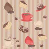 Seamless pattern with coffee cups and cakes Royalty Free Stock Photography