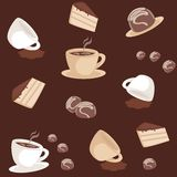 Seamless pattern with coffee cups and cakes Royalty Free Stock Image