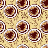 Seamless pattern with coffee cups, calligraphic hand written tex Royalty Free Stock Photos