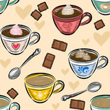 Seamless Pattern coffee cups and chocolate. Vector illustration. Stock Image