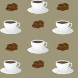 Seamless pattern of coffee cups and coffee beans Stock Photos