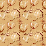 Seamless pattern with coffee cups, coffee stain, calligraphic te Stock Photo