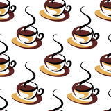Seamless pattern of coffee cups with steam Stock Image