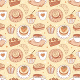 Seamless pattern with coffee cups Stock Image
