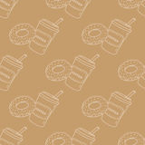 Seamless pattern with coffee and donut. Light brown seamless pattern with coffee and donut Stock Photos