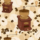 Seamless pattern of coffee grinder. And beans Royalty Free Stock Photography