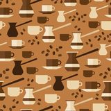 Seamless pattern with coffee icons in flat design Stock Photo