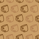 Seamless pattern with coffee mug on a brown background. Illustration of drinking coffee or tea cups. Stock Photography